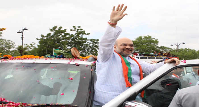 bjp, president, amit shah, receives, welcome, jaipur