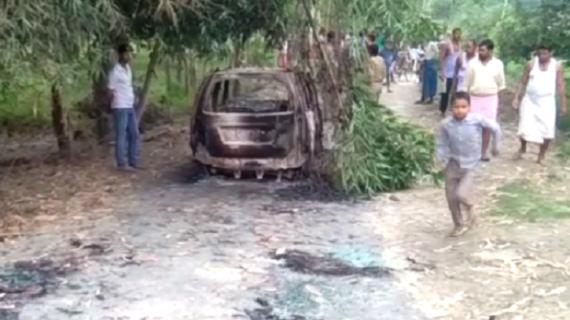 हरदोई जिले में अपराधों पर अंकुश लगाने में पुलिस नाकाम, जली कार में मिला शव