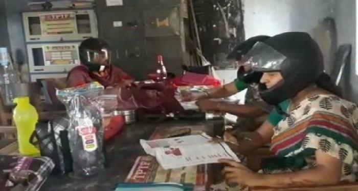 school, teacher, children, wearing, helmet, Hyderabad