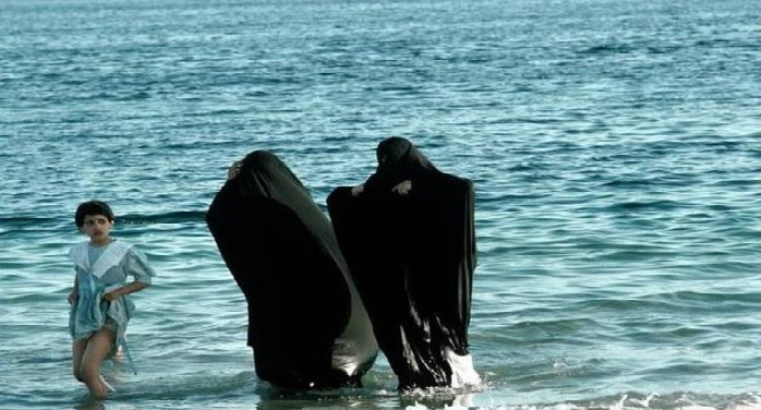 saudi arabia, luxury beach resort, women, bikini, inste, burkha