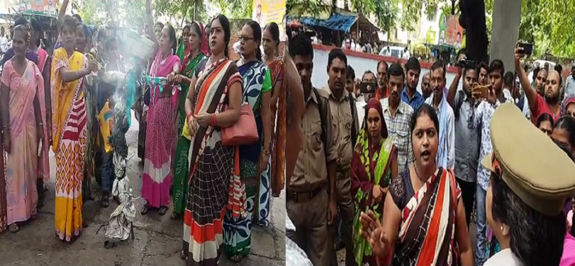 Women,case,misbehave, burned, effigy, city inspector, son, mental condition, crime, police,