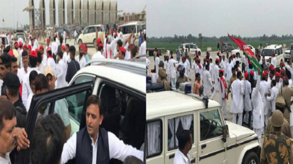 कार्यकर्ताओं के हंगामे के कारण पुलिस ने अखिलेश यादव को हिरासत में लेकर छोड़ा