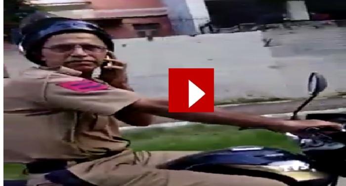 chandigarh, policeman, slapp, man, traffic rule, video
