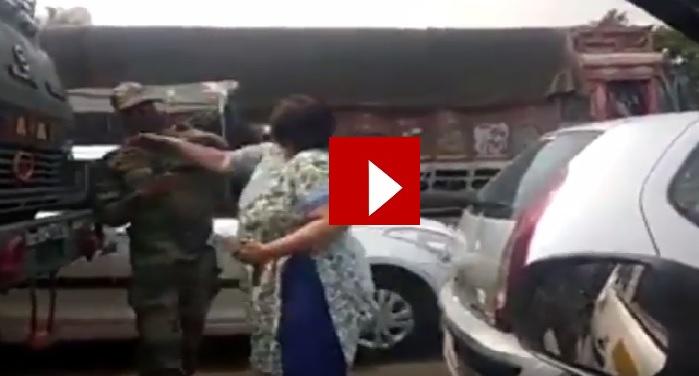 woman, slapp, army jawan, video, viral, social media
