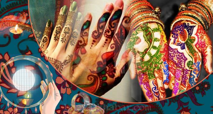colourful mehendi करवा चौथ पर हाथों में मेंहदी को दें नया लुक और नई डिजाइन जाने इस खबर से